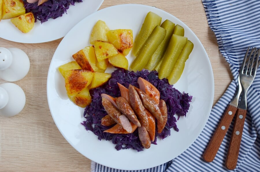 How to serve Knocks 'n' Brats & Red Cabbage & Roasted Potatoes