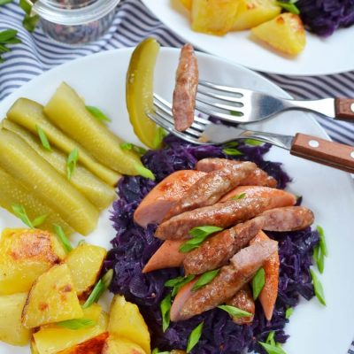 Knocks 'n' Brats & Red Cabbage & roasted potatoes Recipe-How To Make Knocks 'n' Brats & Red Cabbage & roasted potatoes-Delicious Knocks 'n' Brats & Red Cabbage & roasted potatoes