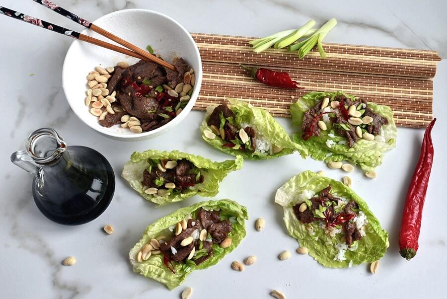 How to serve Korean Pineapple Beef Lettuce Wraps