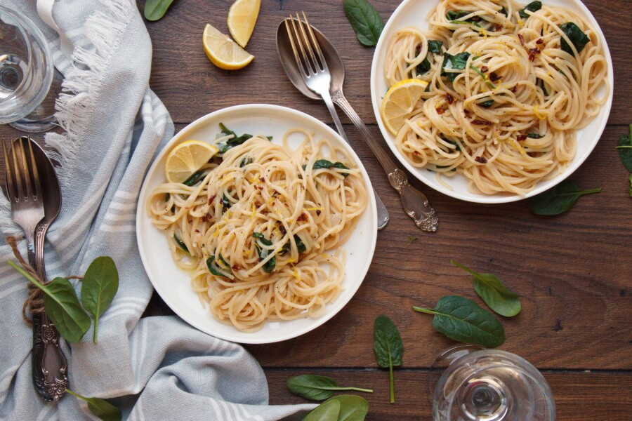 How to serve Vegan Lemon Spaghetti with Spinach