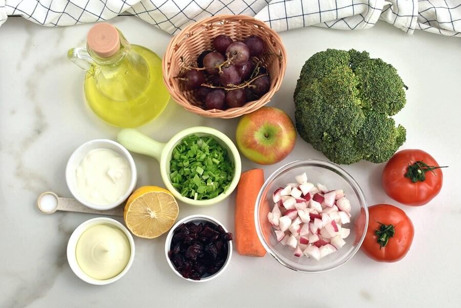 Ingridiens for Loaded Broccoli Radish Salad