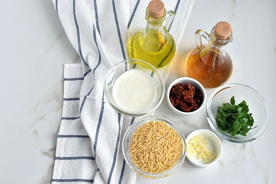 Ingridiens for Orzo with Creamy Sun-Dried Tomato Basil Sauce