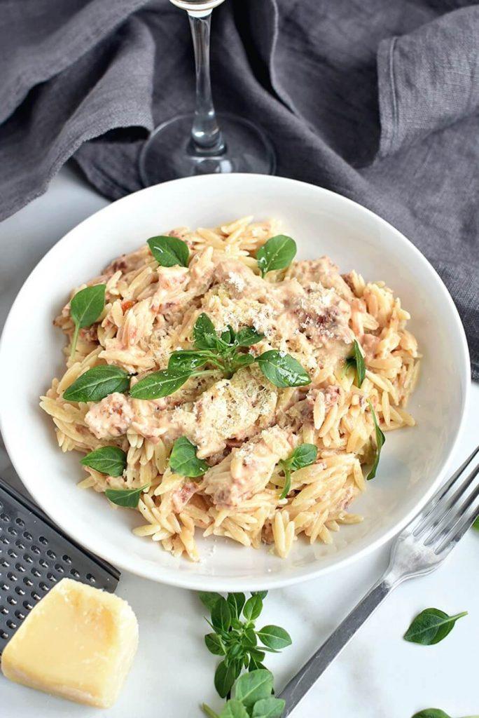 Mediterranean Inspired, Vegan Orzo for Two