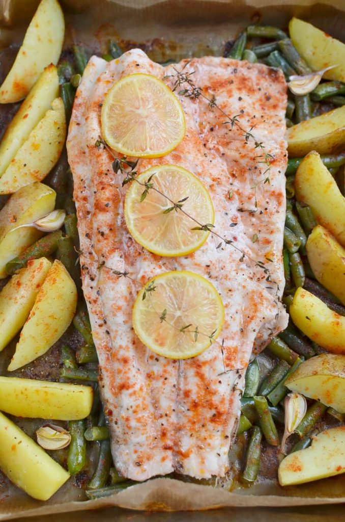 Baked Fish with Fingerling Potatoes and Green Beans