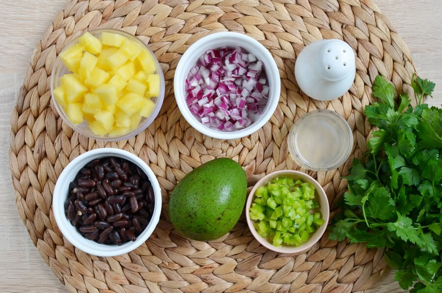 Ingridiens for Pineapple, Avocado and Bean Salsa