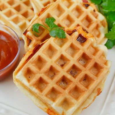 Pizza Waffles Recipe-How To Make Pizza Waffles-Delicious Pizza Waffles