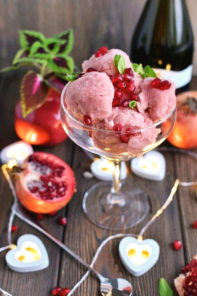 Pink Champagne Infused Sorbet