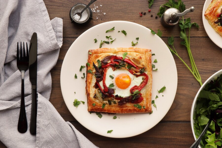 How to serve Red Pepper and Baked Egg Galettes