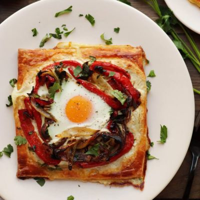 Red Pepper and Baked Egg Galettes Recipe-Roasted Red Pepper & Baked Egg Galettes-Easy Red Pepper & Baked Egg Galettes