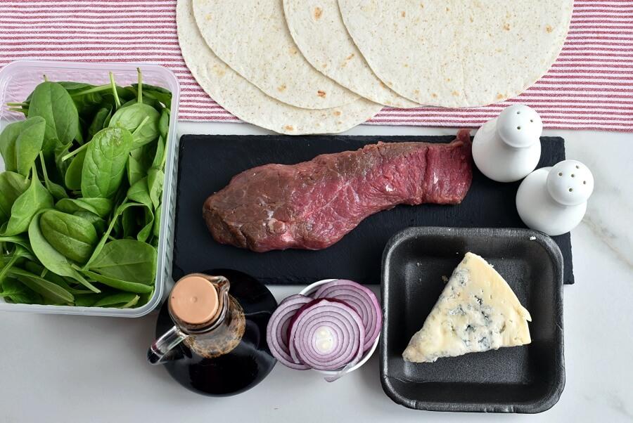 Ingridiens for Steak Bistro Wraps