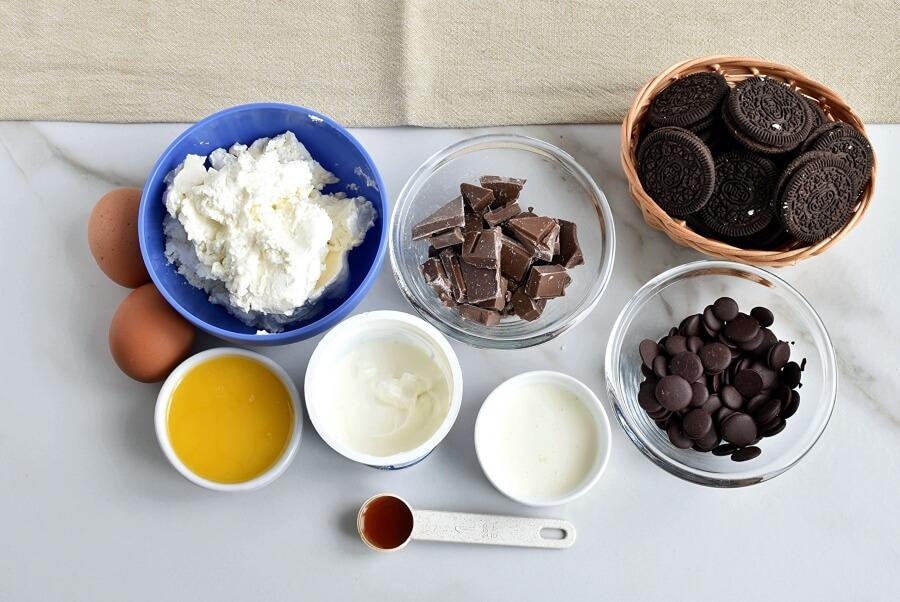 Ingridiens for Triple Chocolate Mini Cheesecakes