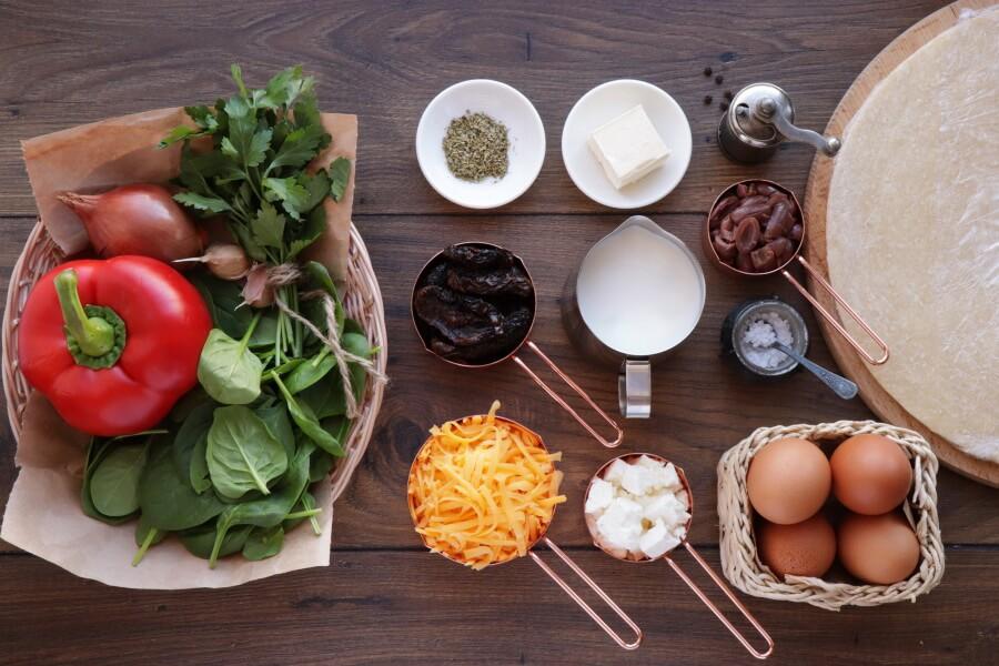 Ingridiens for Veggie Mediterranean Quiche