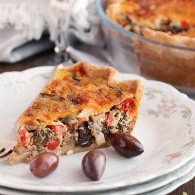 Veggie Mediterranean Quiche Recipe-Mediterranean Quiche-Mediterranean Vegetable Quiche