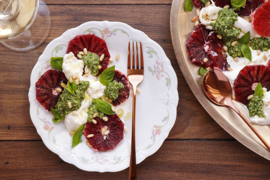 How to serve Blood Orange Salad with Burrata and Pesto
