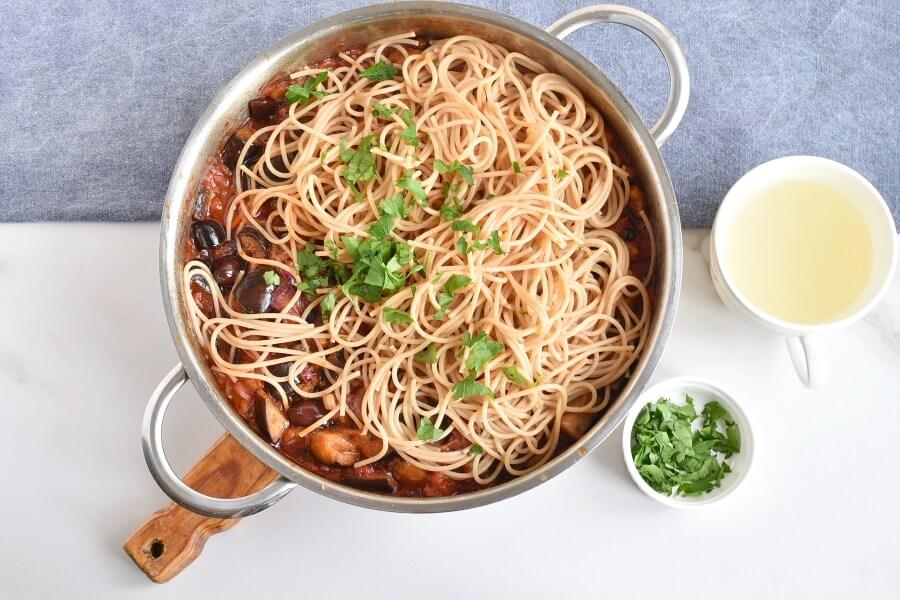 Caponata spaghetti with Eggplant recipe - step 9