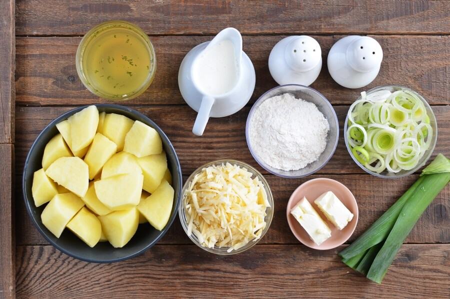 Ingridiens for Cheddar Jack Potato Leek Soup
