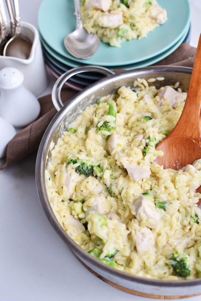 Cheesy Chicken and Broccoli Orzo