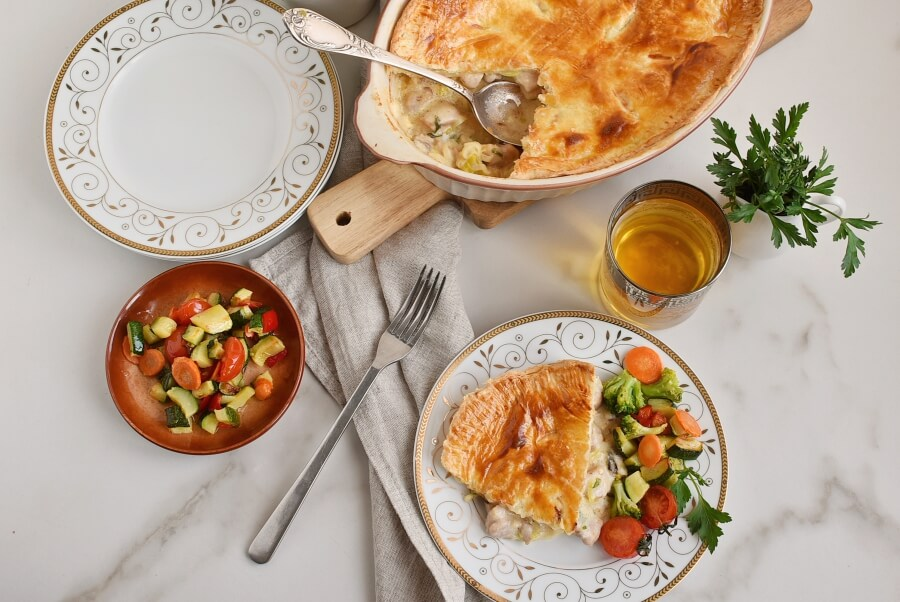 How to serve Chicken, Leek and Caerphilly Cheese Pie
