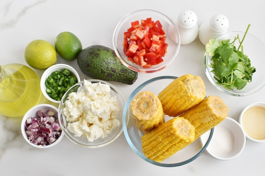 Ingridiens for Corn Salad with Queso Fresco