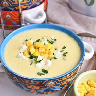 Creamy Corn Soup with Queso Fresco Recipes-Homemade Creamy Corn Soup with Queso Fresco-Delicious Creamy Corn Soup with Queso Fresco
