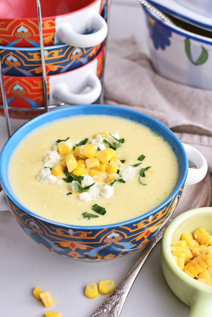 Delicious corn soup with queso fresco