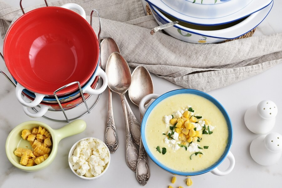 How to serve Creamy Corn Soup with Queso Fresco
