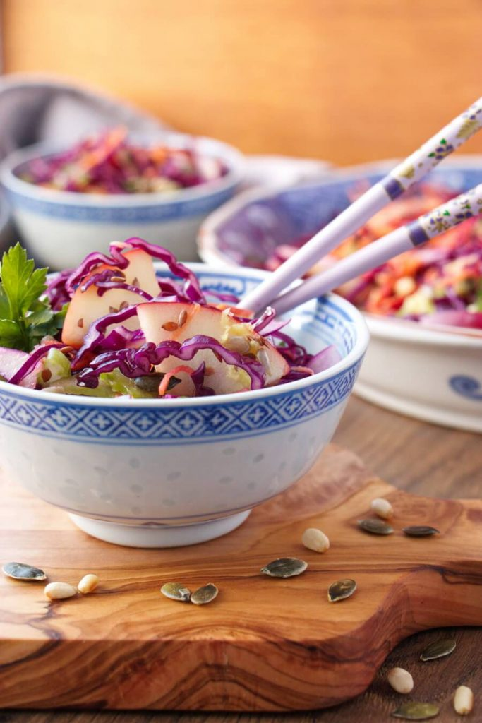 Cabbage and Nuts in Lemon Dressing