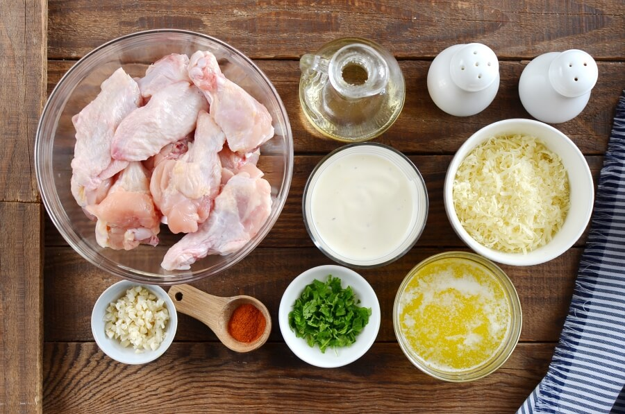 Ingridiens for Garlic-Parmesan Wings