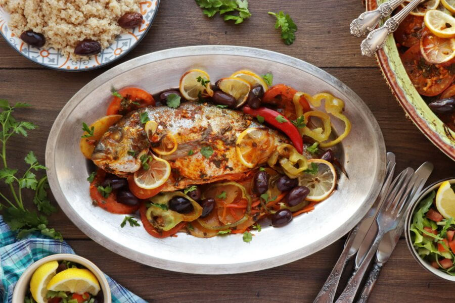 How to serve Moroccan Baked Fish Tagine with Vegetables