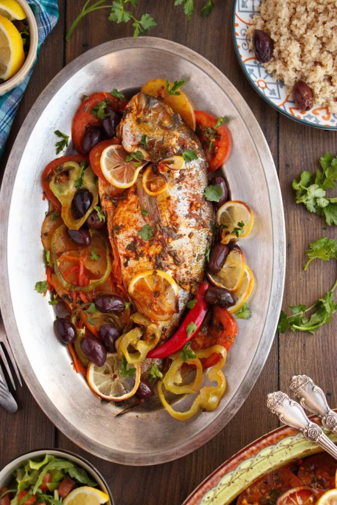 Moroccan Baked Fish Tagine with Potatoes, Carrots, Tomatoes and Peppers Recipe-Baked Fish Tagine-Oven Baked Fish with Chermoula