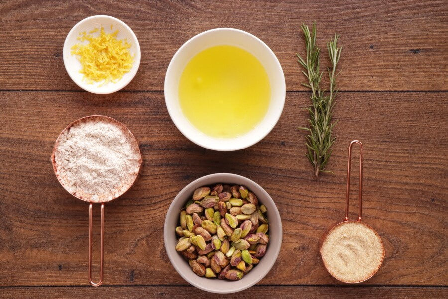 Ingridiens for Pistachio, Lemon and Rosemary Biscotti