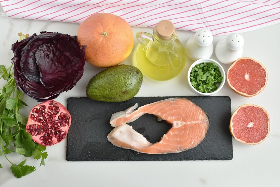 Ingridiens for Purple Cabbage Cups with Salmon & Avocado