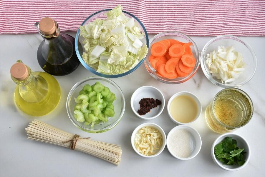 Ingridiens for Vegan Shoyu Cabbage Soup