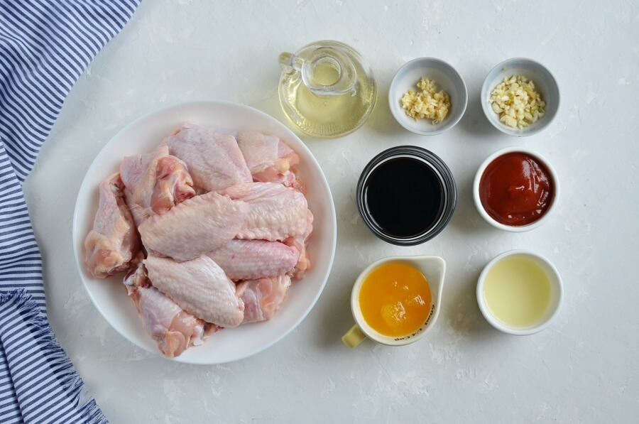 Ingridiens for Spicy Asian Chicken Wing Marinade