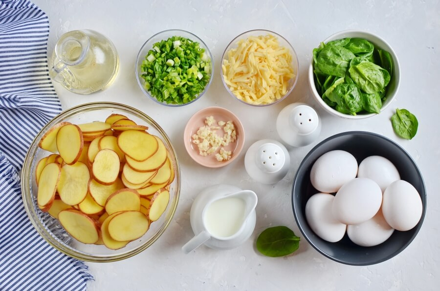 Ingridiens for Spinach and Potato Frittata