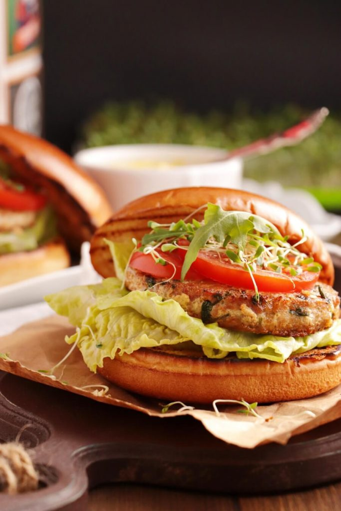 Tuna Steak Burgers with All the Trimmings