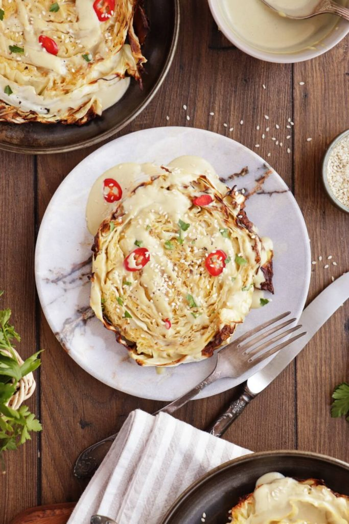 Vegan Cabbage Steaks with Tahini Sauce