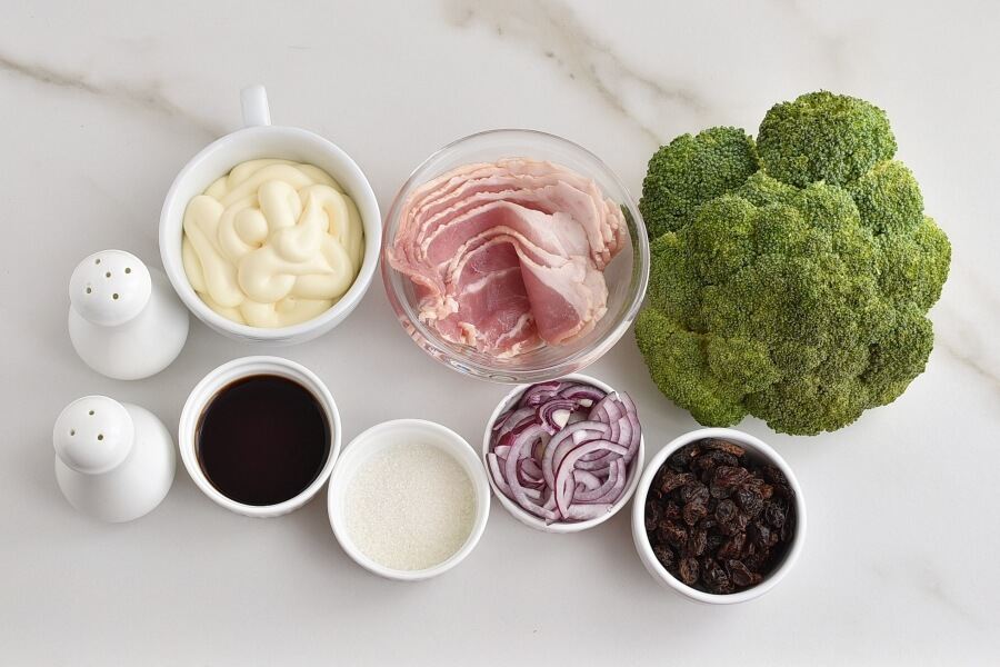 Ingridiens for Broccoli Salad with Bacon