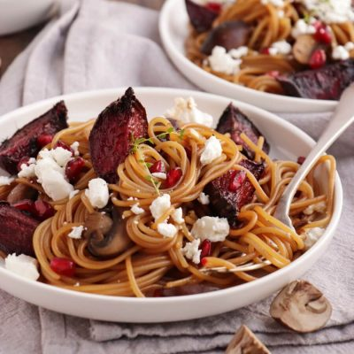 Caramelized Balsamic Goat Cheese Pasta Recipe-Mushroom Goat Cheese Pasta-Easy Lent Beat Mushroom Pasta