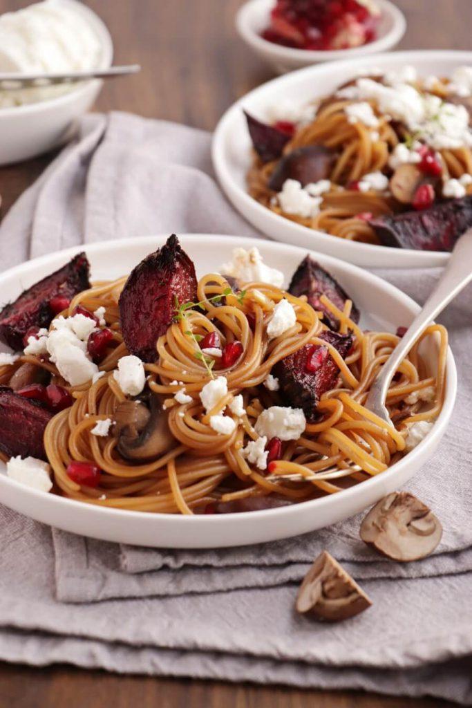Mushroom Roasted Beet Spaghetti with Goat Cheese