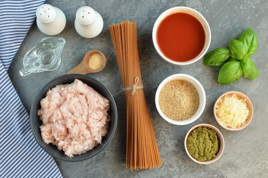 Ingridiens for Chicken Pesto Meatballs