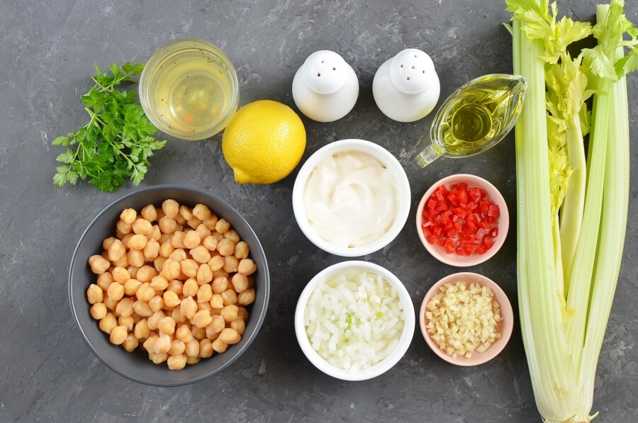 Ingridiens for Chickpea and Celery Soup with Chili