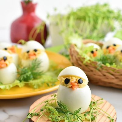 Easter Egg Deviled Egg Chicks Recipes-Homemade Easter Egg Deviled Egg Chicks-Easy Easter Egg Deviled Egg Chicks