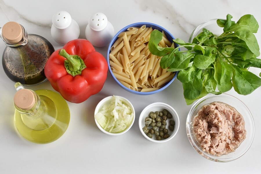 Ingridiens for Easy Penne and Tuna Salad