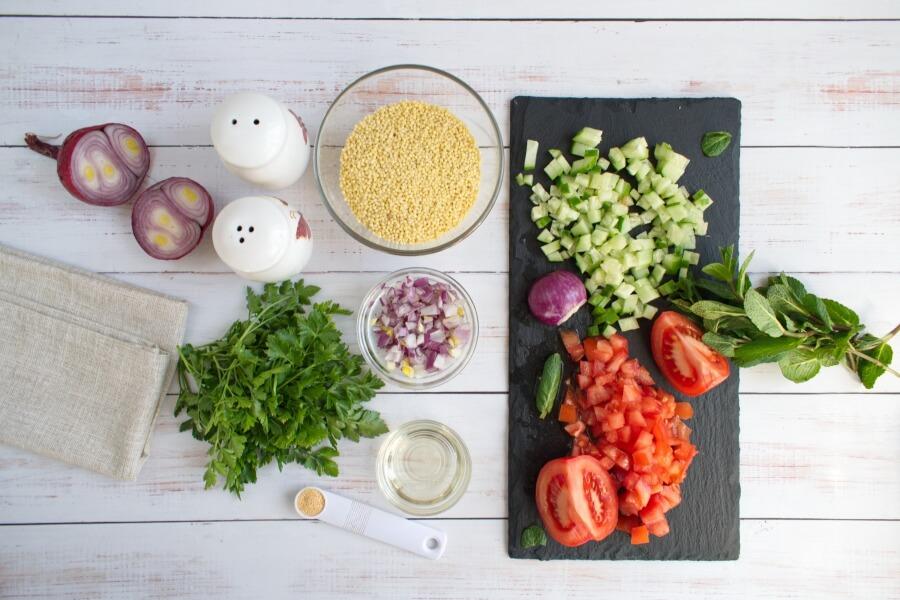 Ingridiens for Gluten Free Millet Tabbouleh Salad