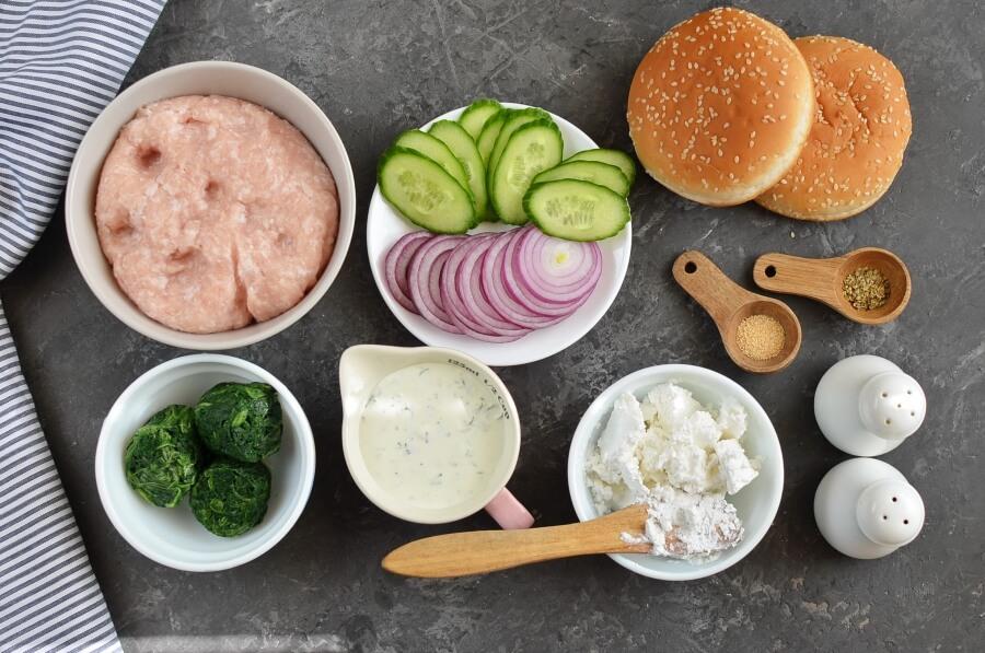Greek Turkey Burgers with Spinach, Feta & Tzatziki Recipe-How To Make Greek Turkey Burgers with Spinach, Feta & Tzatziki-Delicious Greek Turkey Burgers with Spinach, Feta & Tzatziki