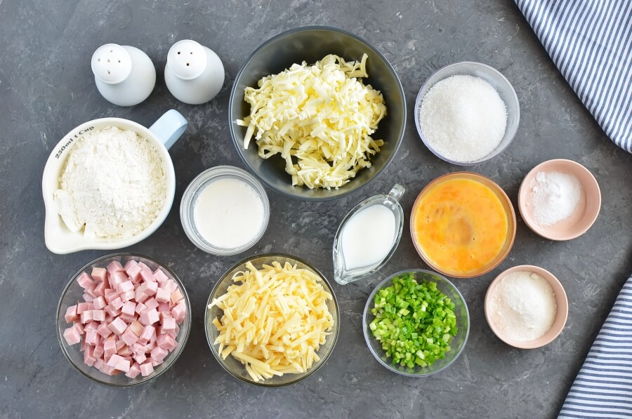 Ingridiens for Ham and Cheese Scones