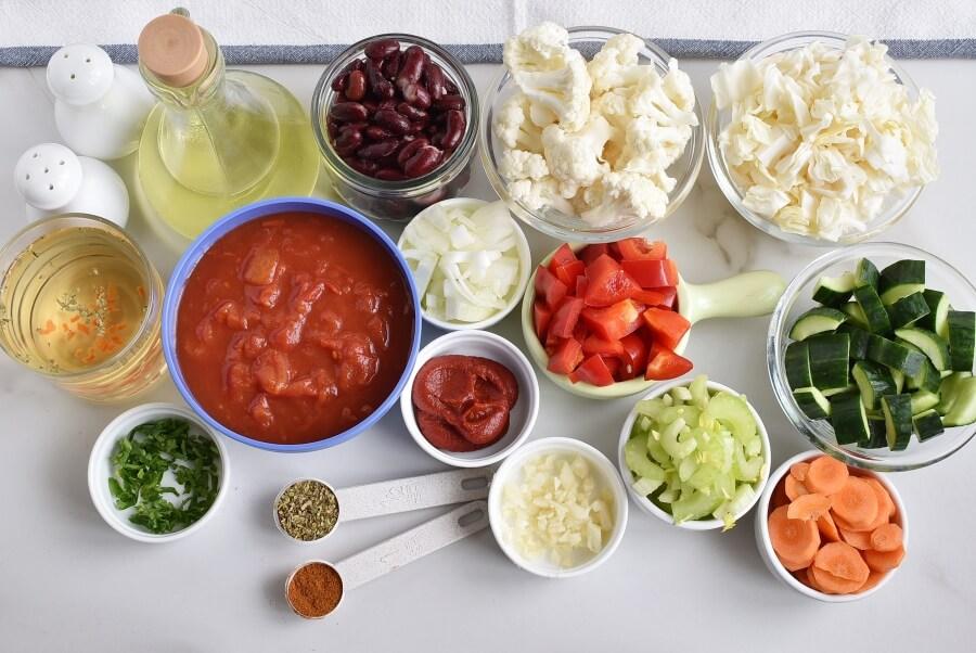 Ingridiens for Instant Pot Vegetable Soup