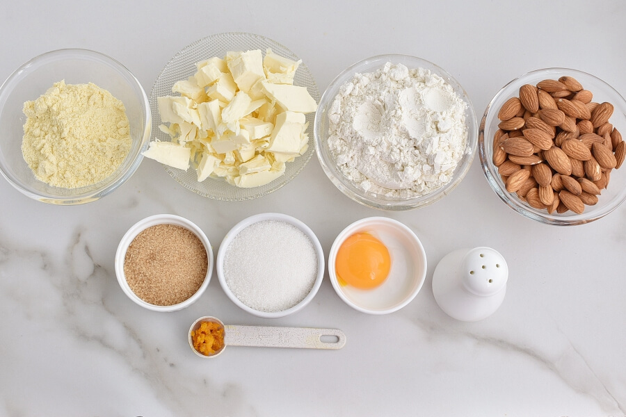 Ingridiens for Italian Almond Tart