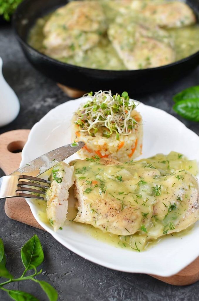 Grilled Chicken Breast with Lemon and Herb Sauce